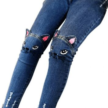 Cat Kids High Waisted Pants Girls Skinny Jeans