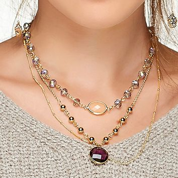 """Gold Plated Necklace with Light Purple, Purple and Peach Beads 16 1/2"""" + 3"""" ext"""