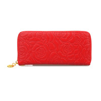 Red Textured Floral Wristlet Wallet