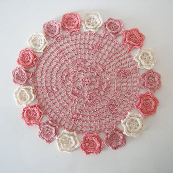 Crochet Lace Doily - Pink and Natural Table Centerpiece with Small Flowers Home Decor / Bridal Shower Gifts