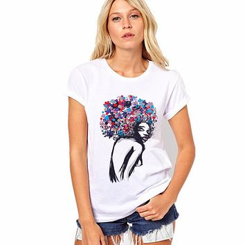 Pattern Print White Scoop Short Sleeves Regular T-shirt