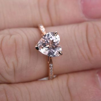 1.45 Carat Heart Morganite Engagement Ring