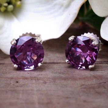 Alexandrite Post Earrings, Sterling Silver Earrings with Color Change Alexandrite, Bridesmaids Gifts, June Birthstone, Free Shipping