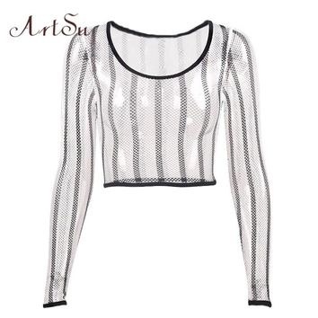 ArtSu Striped Mesh Top Long Sleeve Tshirt Women Sexy Club Short Top Fishnet Tee Shirt Femme Fitness Clothing Camisetas ASTS20381
