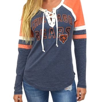 Chicago Bears Womens Laceup Long Sleeve Top | SportyThreads.com