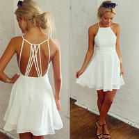 HOLLOW OUT BACKLESS CHIFFON DRESS