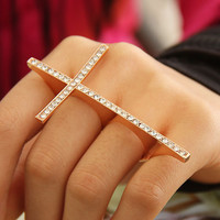 Fashion Rhinestone Golden Cross 3 Fingers Ring