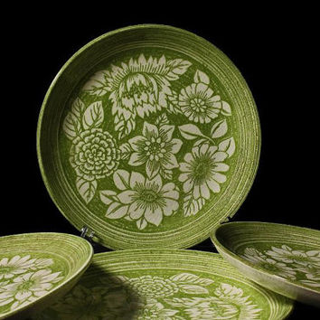 Salad Plates Mount Clemens China  Underglaze Ironstone Rare Set of 4