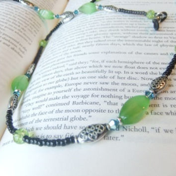 Celtic Knot Unisex Eyeglass Sunglass Reading Glass Beaded Chain Lanyard Green Glass Cat's Eye Blue Swarovski Crystal Black Seed Beads