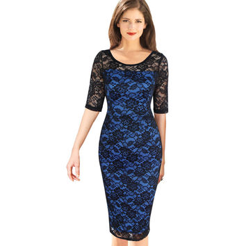 Vfemage Womens Elegant Vintage Rockabilly See Through Floral Lace Casual Party Bodycon Pencil Sheath Fitted Dress 3146
