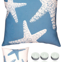 "Manual Woodworkers SLNSFS Blue Starfish 18"" x 18"" Climaweave Outdoor / Indoor Pillow with 6-Pack of Tea Candles"