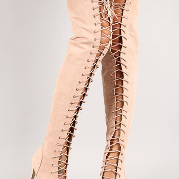 Olga-Yh-1 Nubuck Lace Up Thigh High Boot