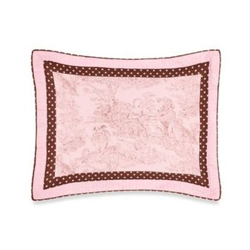 Sweet Jojo Designs French Toile and Polka Dot Standard Pillow Sham in Pink/Brown
