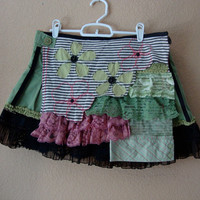 Tender Shoots green wrap skirt funky French maid altered couture gypsy boho upcycled handmade adjustable medium to large flower applique