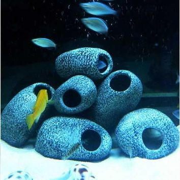 Aquarium Cichlid Stones Ceramic Rock Cave Ornament Fish Tank Decoration Shrimp