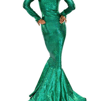 Glamorous Bombshell Green Fish Scale Sharp Shoulder Gown  with Scoop Neckline, Long Sleeves and Puddle Train Made To Order  150406
