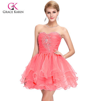 Cute Back to School Short Prom Dresses 2016 Sequins Homecoming Ball Gown Puffy Dancing Party Dress Black Green Pink Purple 6077