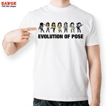 [EATGE] Evolution Of Pose Tshirt Michael Jackson Fashion Funny T Shirt Casual Novelty T-shirt Men Women Style Tee