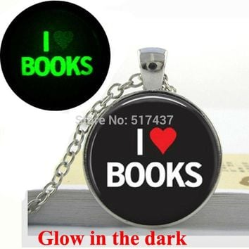 Glow in the dark Necklace Pendants,I Love Books Necklace Book Lover Gifts,Quote Necklace Glass Art Photo  Glowing Jewelry