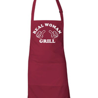 Real Woman Grill Unisex Style Fit BBQ Apron Great Mothers Day Gift Wife Girlfriend Apron All Colors Teflon Fabric Protected Great Gift