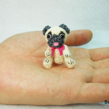 Tan Pug Dog with Pink Bow - Teeny Tiny Dollhouse Miniature Pet - Cotton Yarn Crocheted Pugs - Made To Order