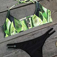 Cupshe Hit Refresh Leaves Halter Bikini Set