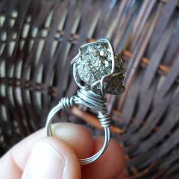 Ring-Pyrite Crystal-Wire Wrapped Jewelry-Healing Crystal Jewelry-Rough Crystal-Chakra Jewelry-Chakra Jewelry-Boho Ring-Wicca-Size 7 -#273