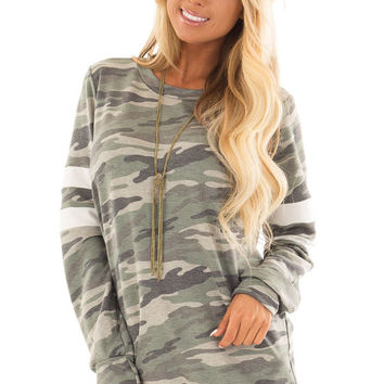 Army Green Camo Long Sleeve Top with White Stripe Detail