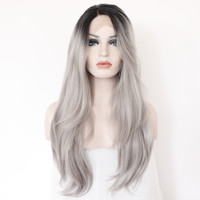 2 Tones Synthetic Lace Front Wig Gray Grey Silver Ombre Hand Tied Wavy  Wigs Dark Roots Heat Resistant Fiber Hair