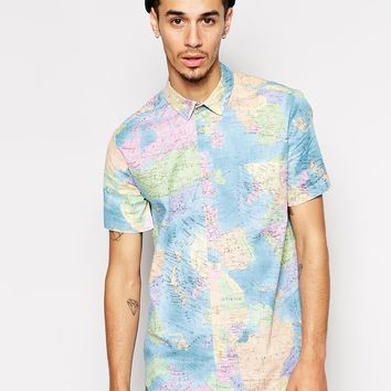 Reclaimed Vintage Short Sleeve Shirt in World Map Print