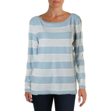 Tommy Hilfiger Womens Heathered Lace Trim Pullover Sweater