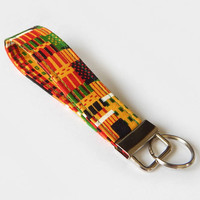 African Kente Key Fob / Africa Keychain / Tribal / Key Lanyard / ID Badge Holder / Red Yellow and Green / Key Lanyard / Back to School