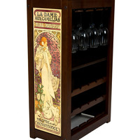 Wine Cabinet with La Dame Aux Camelias by Alphonse Mucha