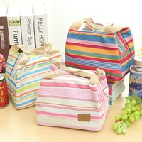 Insulated Lunch Bags Dual Handles Zipper Stripe Canvas Food Holder Tote for Women Men Kids Students Lunch Holder Lunch Container