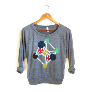 Atomium - HAND STENCILED Slouchy Tri Blend Heather Deep Scoop Neck Womens Raglan Lightweight Sweatshirt in Heather Grey - XS S M L