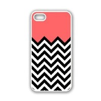 iPhone 5 Case White ThinShell Case Protective iPhone 5 Case Coral Plus Chevron