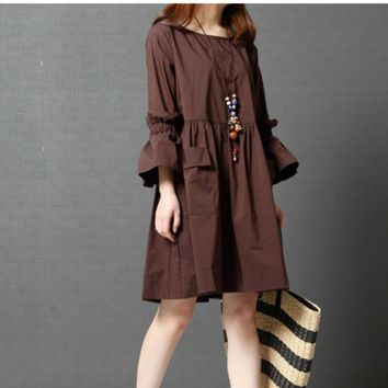 Spring Summer Casual Vintage Flare Sleeve Round Neck Split Joint Ruffle Pleated Dress Women Plus Size Cotton Linen Dress