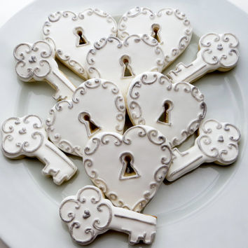 Heart and key cookie favors decorated for a Wedding, Bridal shower or Valentines, 1 Dozen