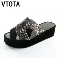 VTOTA Slippers Women Shoes Rhinestone Slippers Female pantuflas  Beach Wedge Flip Flops Summer Shoes Woman Sapato Feminino R44