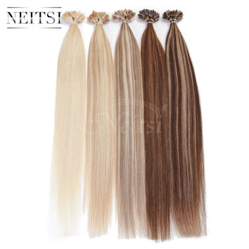 """5A Indian Remy Fusion U Nail Tip Human Hair Extensions Straight Weave 20"""" 1g/s 100g/pack ombre color black red blonde 10 colors"""