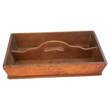 Pre-owned Antique Hand-Made French Wooden Tote Tray