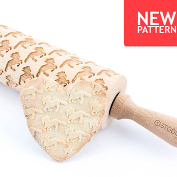 Friesian horse - Embossed, engraved rolling pin for cookies