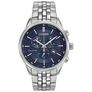 Citizen AT2141-52L Men's Sapphire Eco-Drive Blue Dial Steel Bracelet Chronograph Watch