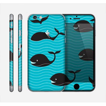 The Teal Smiling Black Whale Pattern Skin for the Apple iPhone 6