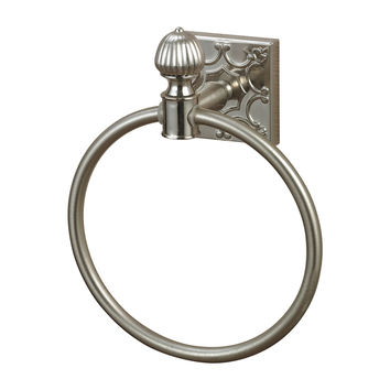 Towel Ring In Brushed Steel With Embossed Back Plate