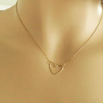 14k Gold Filled Delicate Heart Centered or Sideways Necklace, Bridesmaids Gift Necklace, Layering Necklace Dainty Jewelry, just1gold