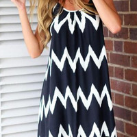 Navy Blue Spaghetti Strap Chevron Print Tassel Hem Bare Back Mini Dress