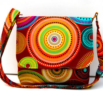 Small Messenger Bag / Cross Body Bag / Fabric Purse / Hippie Bag - Michael Miller Norwegian Woods Aurora Borealis Forest Cocoa