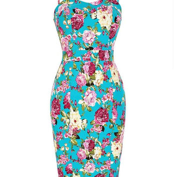 Women sexy Vintage Floral Pattern Spaghetti Straps Hips-Wrapped Bodycon Pencil Dress Clothing Vestidos Bodycon office Dress