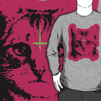 cat with cross crew neck